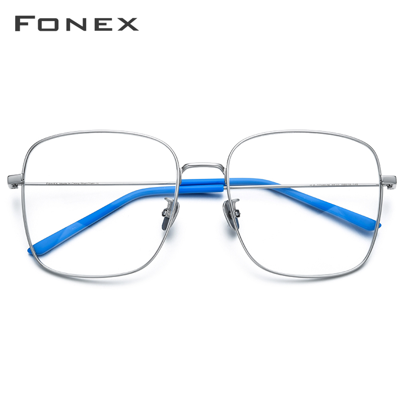 FONEX Pure Titanium Glasses Women Oversize Myopia Optical Prescription Eyeglasses Frame Men Big Square Ultralight Eyewear 8520