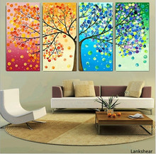 4 Piece Colourful Leaf Trees Canvas Painting Wall Art Spray Wall Painting Home Decor For Living Room Modular Picture Posters canvas painting poster colourful leaf trees 4 piece painting wall art modular pictures for home decor wall art picture painting