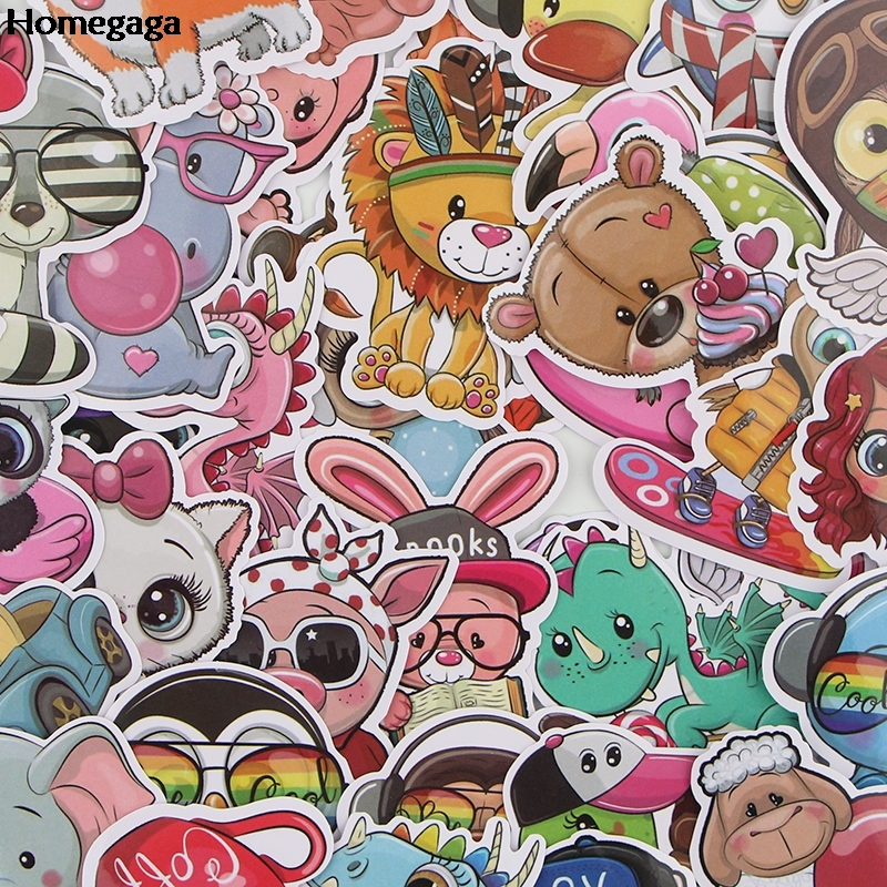 Homegaga 40Pcs set Cartoon Cute font b Pets b font Stickers Animal Stickers Skateboard Luggage Stickers