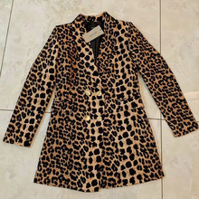 Leopard jacket feminine Spring 2020 casual fashion mid-length women's blazer Double-breasted popular small suit high quality