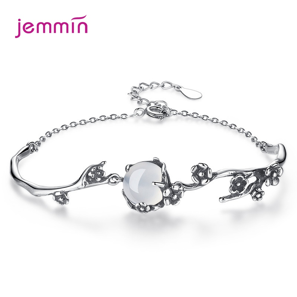 Elegant S925 Sterling Silver Plum Blossom Bracelet For Women Girls Wedding Party Clear Zirconia Prong Setting Jewelry