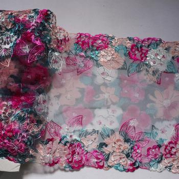 1 metr 21CM szerokość kwiat ogród koronkowa lamówka kolorowa siatkowa bielizna biustonosz ręcznie robiona lalka sukienka materiały do szycia tkanin tanie i dobre opinie Cindylaceshow CN (pochodzenie) Haftowana 100 poliester L098 Mesh Koronki 21 0 cm=8 26 Elastyczna Przyjazne dla środowiska
