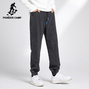 Pioneer Camp 2020 Ripped Jeans for Men Streetwear Cotton Loose Comfortable Black Jeans Men Autumn Clothing XNZ001018