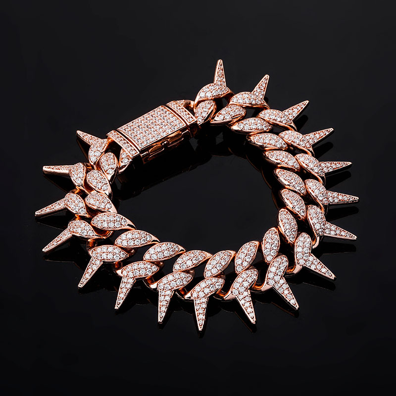 Men's Spiked Cuban Bracelet Cubic Zirconia Iced Out Cuban Bracelet Hip Hop Fashion Jewelry