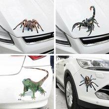Carro 3d gráficos decalques adesivos rastejando etiqueta do carro engraçado aranha lagarto escorpião estilo do carro auto acessórios do exterior