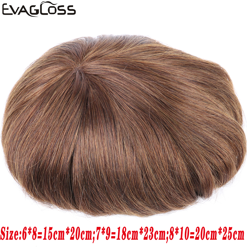 EVAGLOSS Toupee Mens Lace Front Hair Replacement System Mens Wig Fine Mono Hairpieces Natural Human Hair Prosthetic For Male Wig