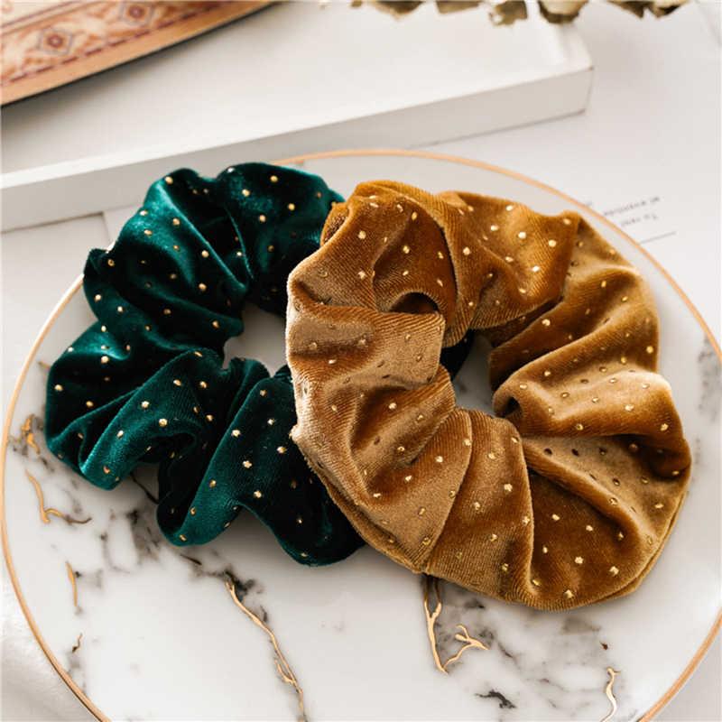 Femme velours chouchous solide cheveux anneau cravates pour filles porte-queue de cheval bande de caoutchouc élastique bandeau cheveux accessoires chapeaux