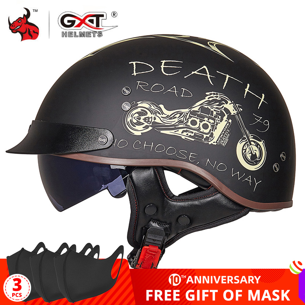 GXT Retro Motorcycle Helmet Scooter Casco Biker Dot-Certification Half-Face Crash Vintage