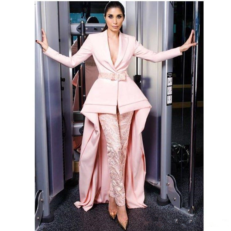 Hot Sale High Low Jumpsuits Evening Dresses V Neck Pink Plus Size Lace Formal With Long Sleeves Satin Peplum Party Prom Gowns