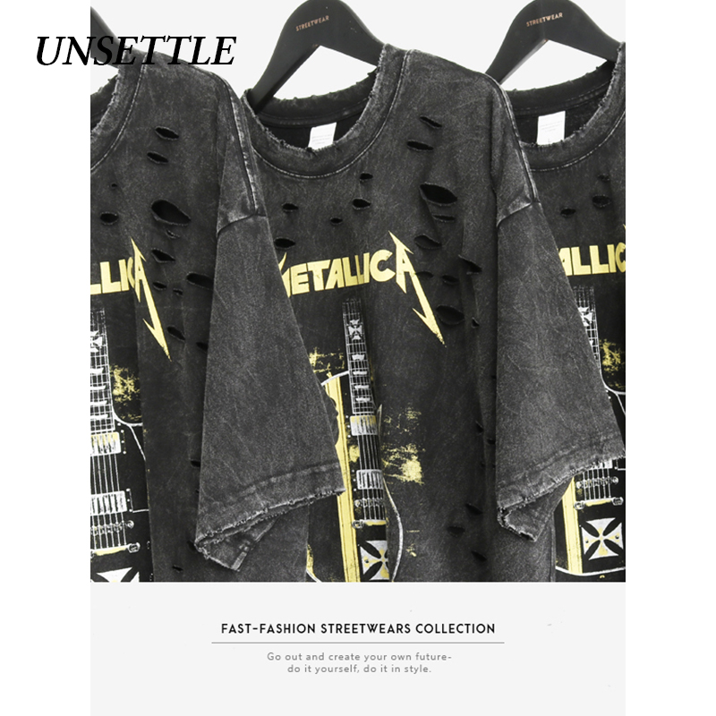 UNSETTLE 2020SS Harajuku T-shirts Summer Holes Men/Women Hip Hop Funny Print Rock Fashion Streetwear T Shirt Short Sleeve Tops