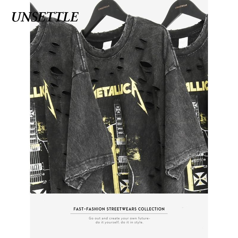 UNSETTLE 2020SS Harajuku T-shirts Summer Holes Men/Women Hip Hop Funny Print Rock Fashion Streetwear T Shirt Short Sleeve Tops