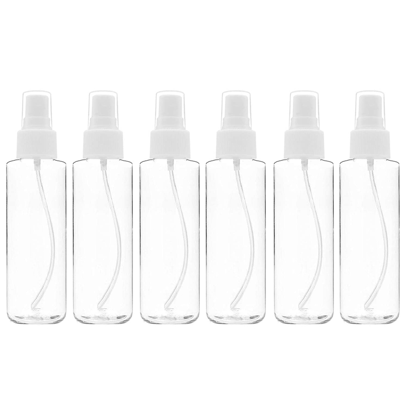 6 Pcs 120ML Fine Mist Spray Bottles, Transparent Pet Spray Bottles, Lotion Travel Bottles