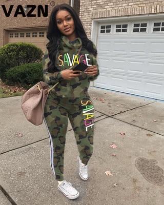 VAZN LSD8633 Camouflage Hot High-end Sexy Women Hood 2 Pieces Set 2019 Sport Full Sleeve Long Pant Print Soft Women Set