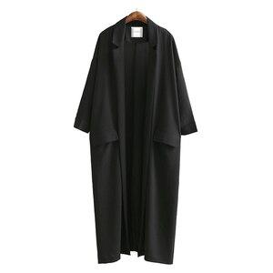 Image 1 - [AZURE SHEN] Non custom 2017 Herfst Mode Effen Zwart Casual Lange Vrouwen Jas Losse Oversized Jas Vrouwen Split Jassen U370