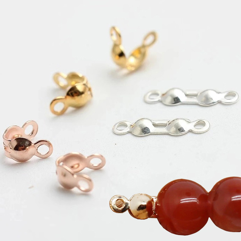 200pcs Connector Clasp Fitting Ball Chain Calotte End Crimps Beads Bracelets Connector Clasp Components Diy For Jewelry Making
