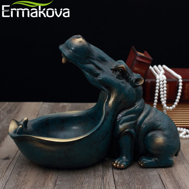 ERMAKOVA Resin Hippo Statue Hippopotamus Sculpture Figurine Key Candy Container Decoration Home Table Decoration Accessories 5