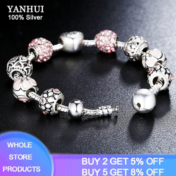YANHUI 2020 NEW Trendy 925 Silver Beads Charms Bracelet Pink Flower Floral Crystal Charm Bracelet Bangle Women Fashion Jewelry dropshipping 2020 new fashion silver beads bracelet blue flower floral crystal charms bracelet