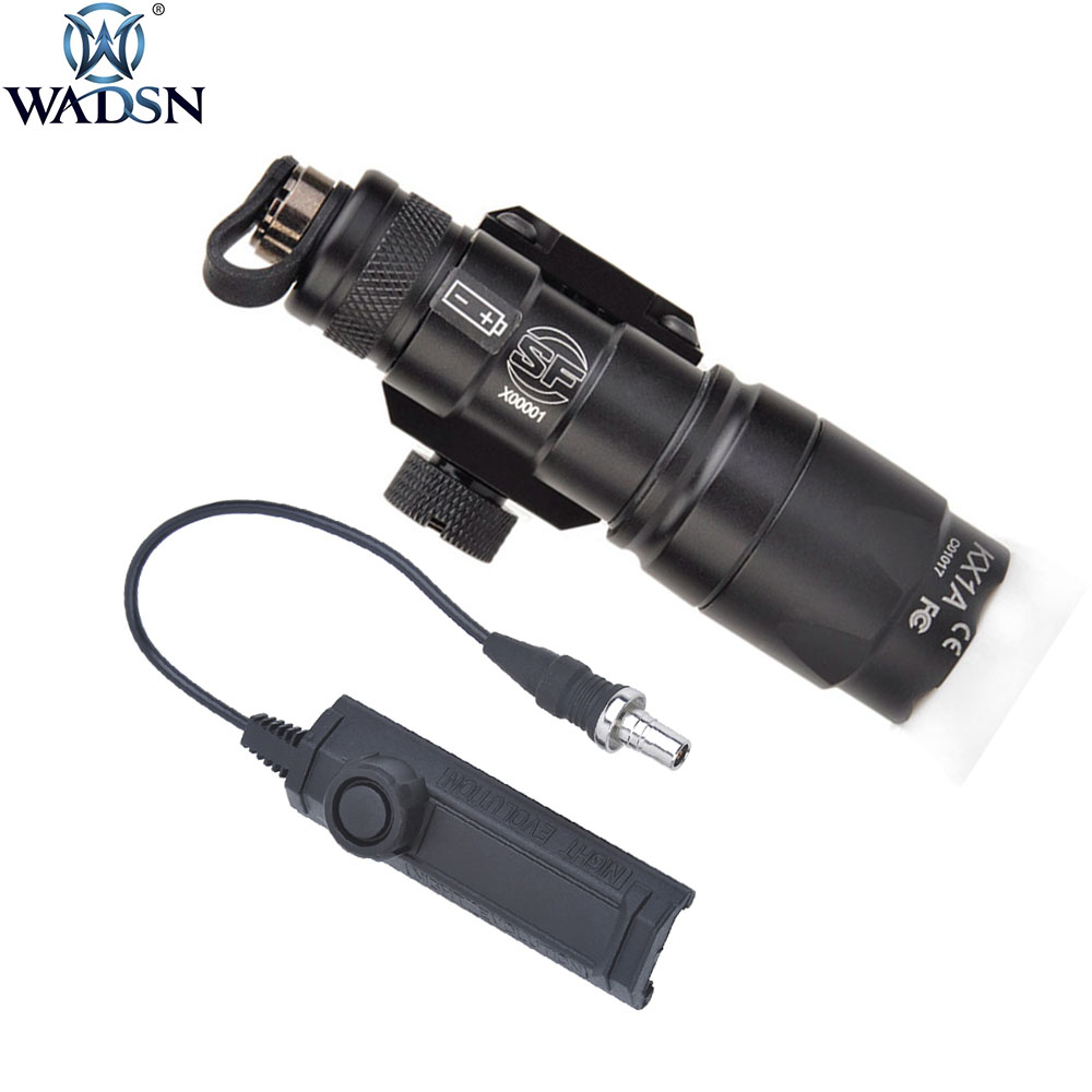 WADSN Airsoft Surefir M300 M300B Mini Scout Light Hunting Weapon Tactical Flashlight With Softair Dual Function Tape Switch