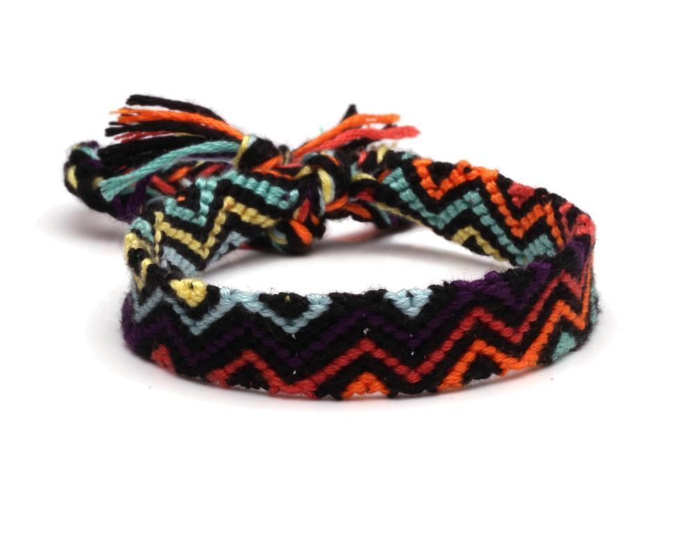 Boho Multicolored String Macrame Cross Grain Rainbow Friendship Bracelet Purple Red Orange Yellow Green Cyan Handwoven Jewelry