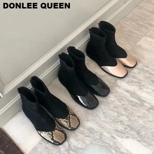 DONLEE QUEEN Ankle Boots Women Elastic Flat Casual Sock Boots Fashion Snake Shoes Women Female Boots Square Toe Low Heel Flock 2019 Autumn Winter Footwear Boots Black Causal Shoes Soft Comfortable  Botas  Zapatos Mujer цена