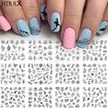 Дизайнерские наклейки для ногтей HNUIX, набор из 12 разноцветных геометрических наклеек для нейл-арта, Переводные картинки для ногтей, Слайдер...