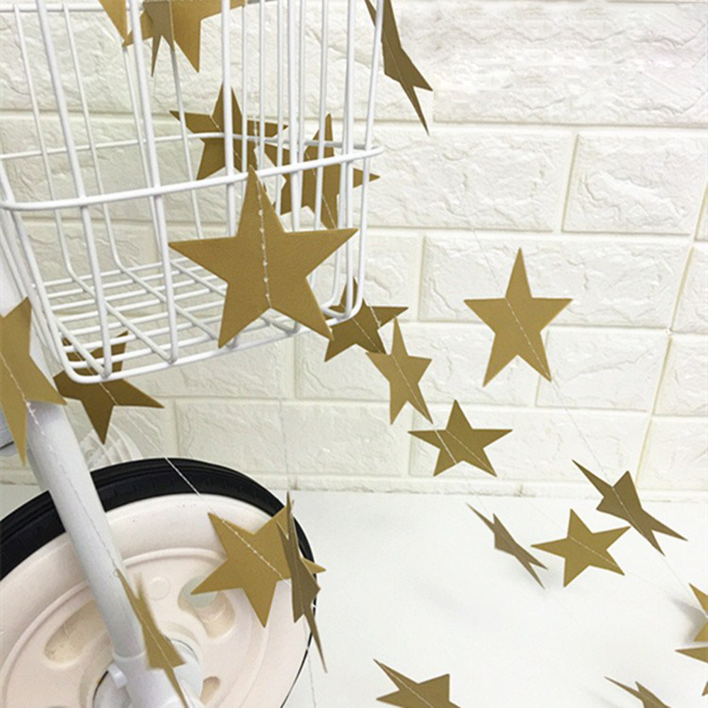 1Pc Gold Silver Stars Christmas Birthday Garland Hanging Ornaments Window Display Flag Party Decor Gadget Holiday Decor Flag