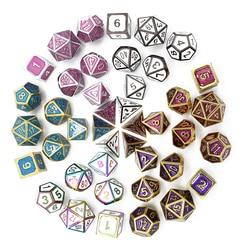 Metal Dice Rpg Game Dnd Dices Set Rpg Polyhedral Solid Dice Table Games Zinc Alloy Digital D&D Dice 7pcs D4 D6 D8 D10 D12 D20