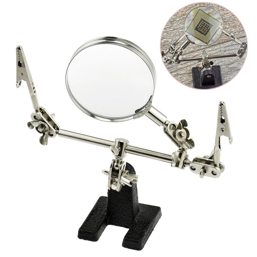 Soldering Tool Adjustable Portable 5X Magnifier With 2 Hand Soldering Iron Stand Holder Station For Jeweler Electrician Hobbyist