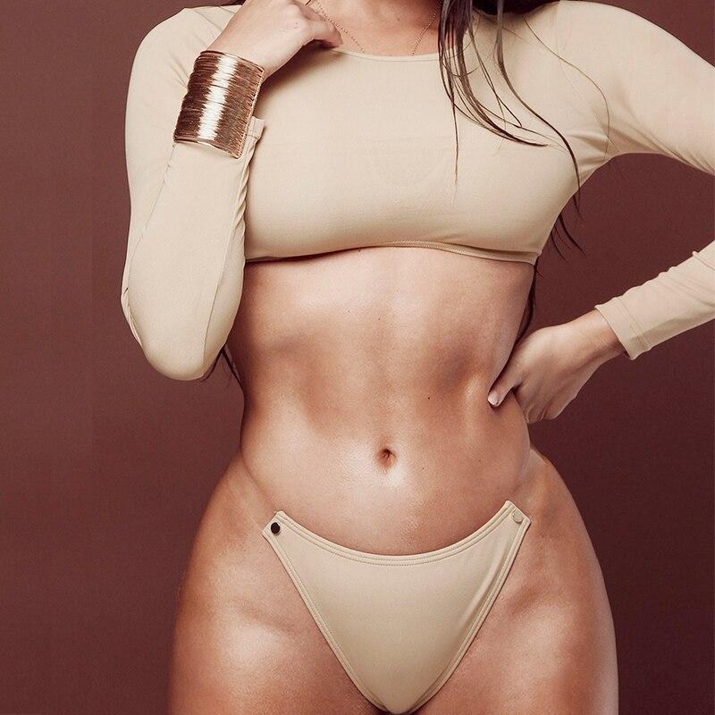 In-X Sexy long sleeve crop top Transparent strap bikini 2019 High neck swimsuit female Push up swimwear women Bathing suit new 4