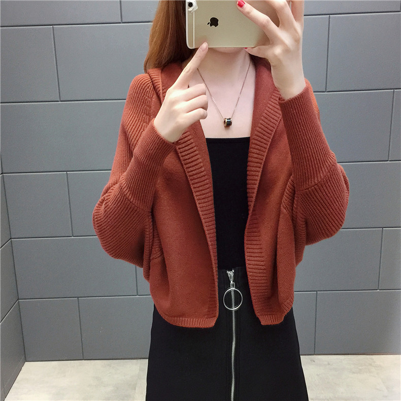 2019 Free send New style Korean loose and comfortable Autumn women Cardigan Sleeve of bat Hooded Sweater coat 106