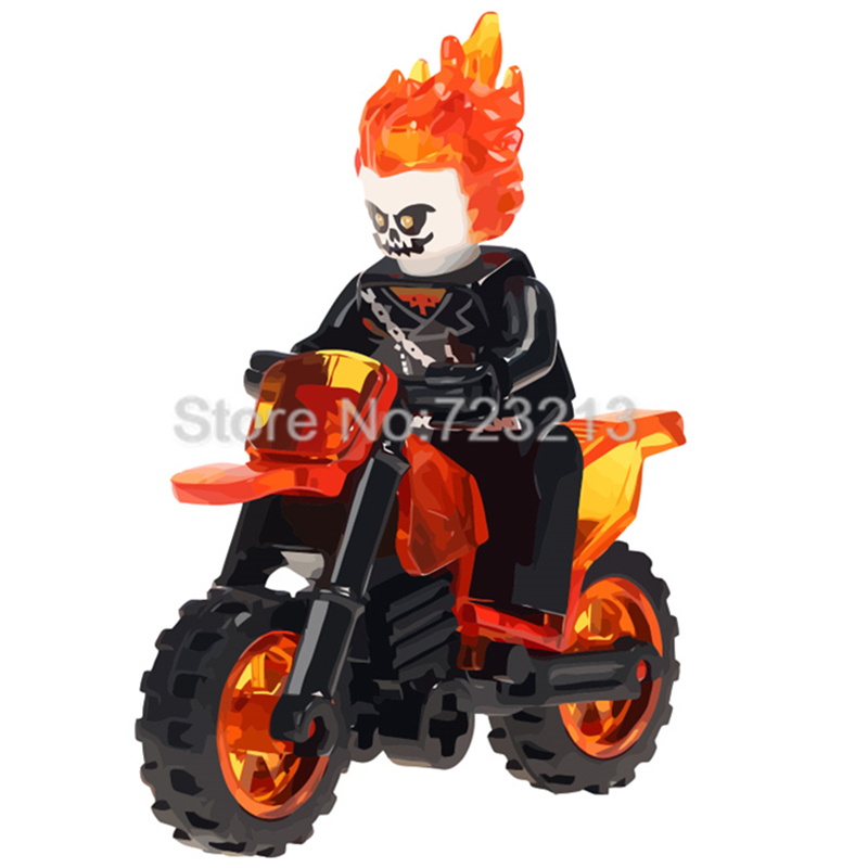 Single Sale Ghost Rider Figure With Motorcycle Marvel Super Hero Building Blocks Set Model Kits Bricks Toy Children Legoing