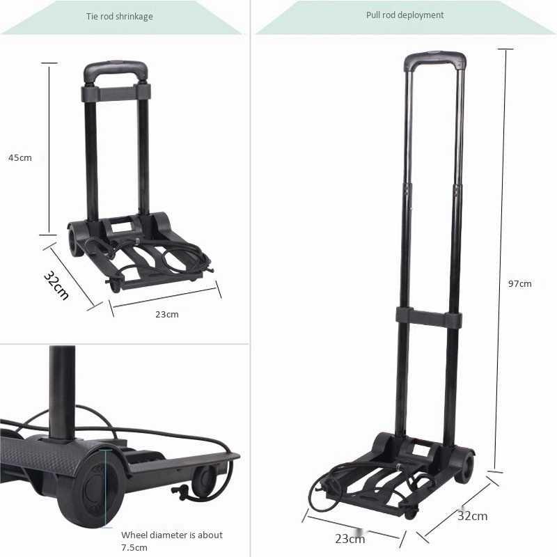 Carro de equipaje plegable Carro de viaje portátil carro de remolque Carro de mano de luz ajustable carrito de compras de viaje para el hogar