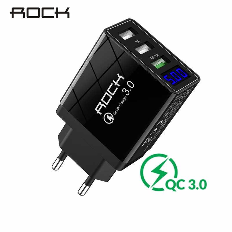 ROCK QC 3.0 30W 3 USB szybkie ładowanie ładowarka telefonu wyświetlacz LED dla iPhone Xiaomi Samsung Huawei 3 porty szybki adapter ścienny Turbo