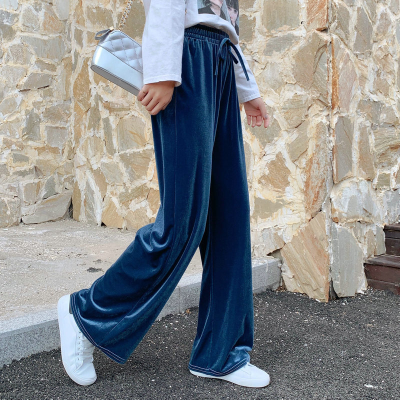 2019 New Casual Loose Autumn Velour Wide Leg Pants Straight Solid Trousers Women Baggy High Waist Pants Harajuku Capri Bottom