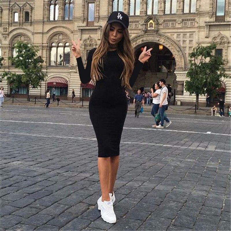 2019 Autumn Hot Slim Bodycon Dress Women Solid Color Chic Party Dresses Casual Sleep Wear Inside Wear Vestidos Pencil Dress