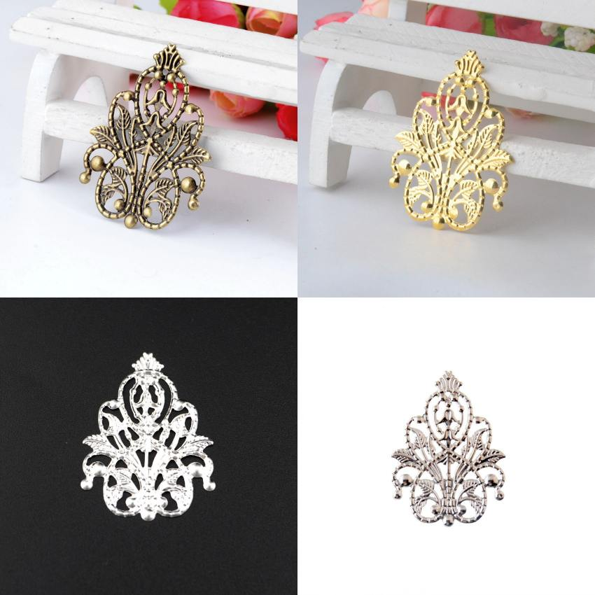 20Pcs Bronze/Copper/Gold/Silver Filigree Wraps Flower Connectors Metal Crafts Gift Decoration DIY Findings 4.8x3.5cm