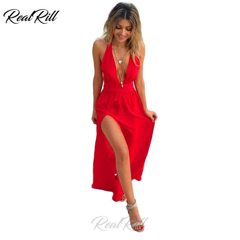 Real Rill Halter Side Split   Prom     Dresses   Satin Deep V-Neck Criss-Cross Back Floor Length A Line Party   Dress