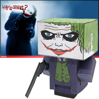 No-glue DC Comics The Joker Folding Cutting Cute 3D Paper Model Papercraft Movie Figure DIY Cubee Kids Adult Craft Toys CS-028 image