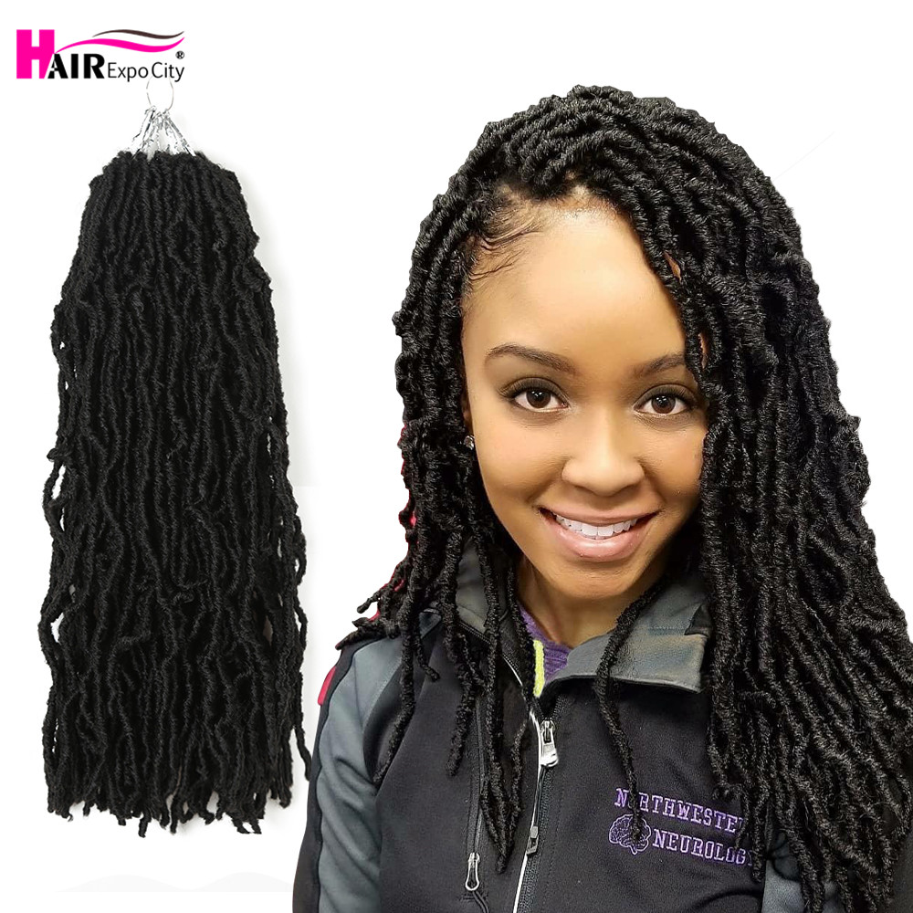 18inch Goddess Nu Locs Crochet Hair Synthetic Soft Messy Boho Faux Loc Ombre Braiding Hair Extension Natural Look Hair Expo City