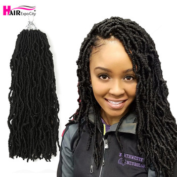 цена на 18inch Goddess Nu Locs Crochet Hair Synthetic Soft Messy Boho Faux Loc Ombre Braiding Hair Extension Natural Look Hair Expo City