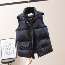 Winter Vest Padded Outwear Sleeveless Jacket Plus-Size Women's Covered-Button Short-Style