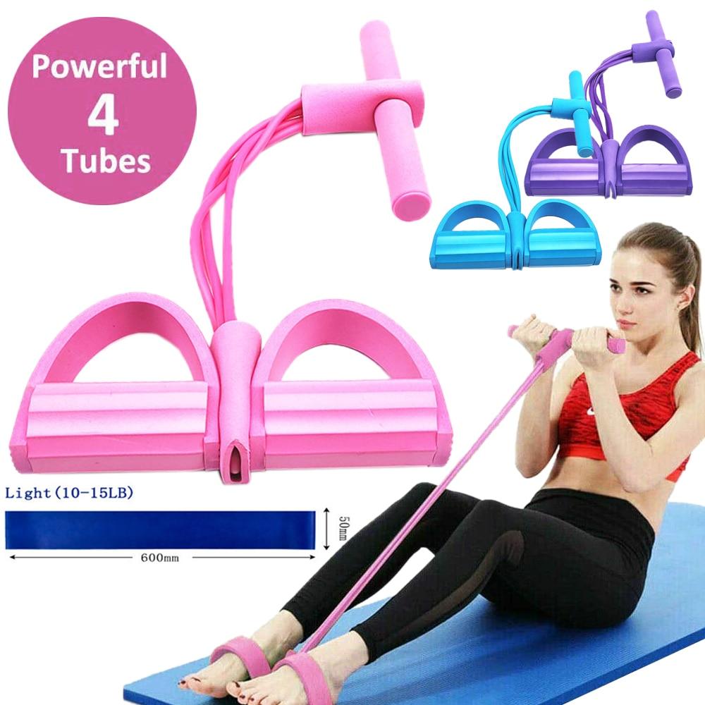Spanning Touw 4 Buis Puller Pedaal Enkel Abdominale Exerciser Fitness Elastische Zitten Pull Touw Home Gym Sport Training Apparatuur