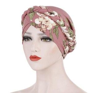 Image 1 - Helisopus Neue Baumwolle Gedruckt Braid Turban Frauen Islamischen Inneren Hijab Caps Kopftuch Arabischen Wrap Kopf Schals Femme Haar Zubehör