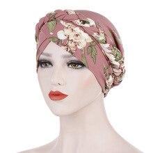 Helisopus New Cotton Printed Braid Turban Women Islamic Inner Hijab Caps Headscarf Arab Wrap Head Scarves Femme Hair Accessories