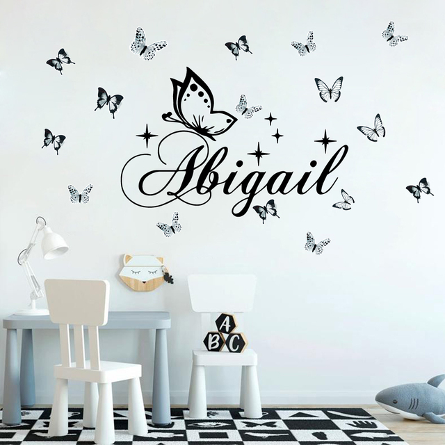 Personalized Custom Name Butterfly Wall Sticker Wallpaper For Nursery Kids Room Decoration Vinyl Stickers Bedroom Decals 5