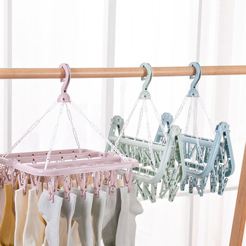 Multi-clip drying socks hanger 32 clip plastic bra clothespin household clothes hanger inner hanger baby clothes hanger клипсы для носок socks clip
