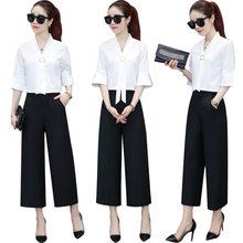 Kindergarten Teachersworkwear Chiffon White Shirt Short Sleeves New Kind Of Broad-legged Trousers Professional Summer