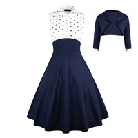 Fashion Elegant Women Two Pieces Dress Polka Dot Printed Casual Party Pin Up Vestidos Retro Vintage Rockabilly Dress