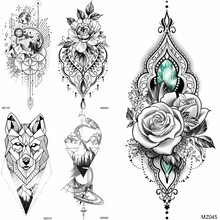 Fake Jewelry Temporary Tattoos Sticker Waterproof Diamond Mountain Wolf Tattoos For Women Body Art Tatoo Decal For Festival Club(China)