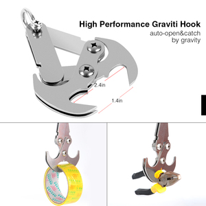Image 3 - Stainless Steel Survival Folding Grappling Hook Outdoor Climbing Claw Accessories Gravity Hook Key Chain Car Traction Rescue EDC